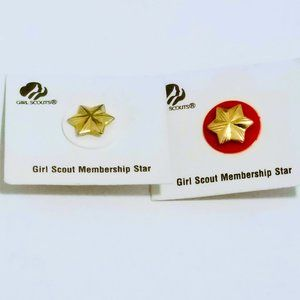 Girl Scouts Membership Star Pin Lot of 2 Gold Tone